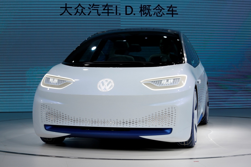 A Volkswagen I.D. electric vehicle is shown at a news conference in Guangzhou