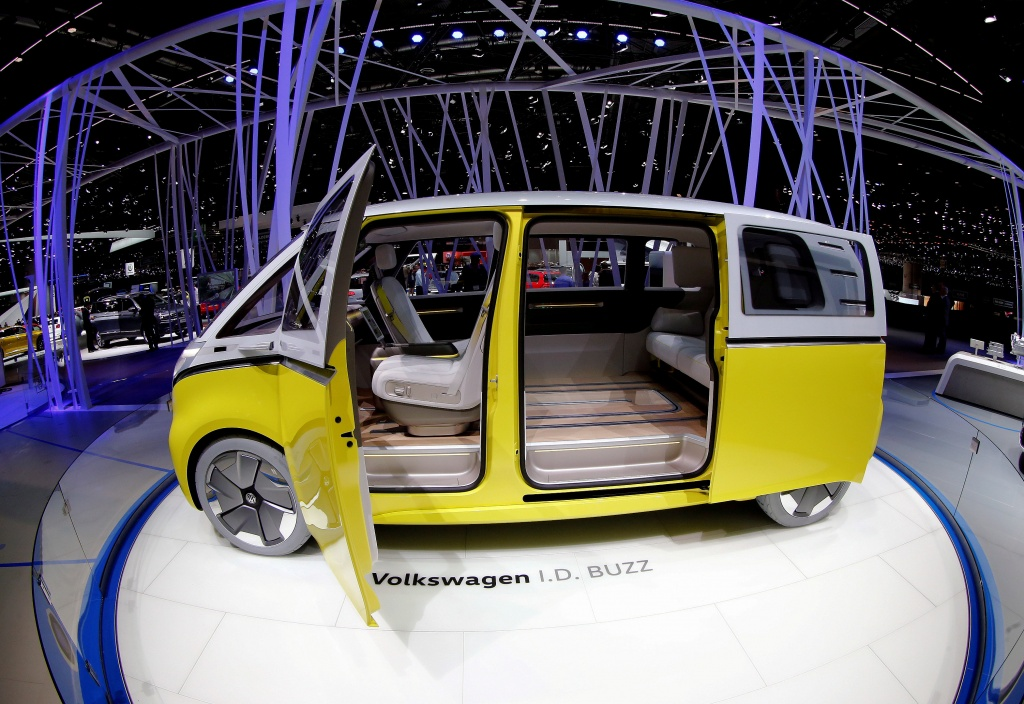 A Volkswagen I.D. Buzz concept car is seen during the 87th International Motor Show at Palexpo in Geneva