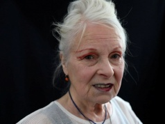 Designer Vivienne Westwood poses for a portrait before her catwalk show at London Fashion Week Men's in London