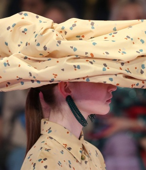A model displays a creation during the Mulberry show at London Fashion Week