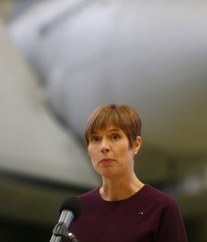 Estonian President Kersti Kaljulaid speaks during the NATO Baltic air-policing mission handover to Italian Air Force ceremony in Amari