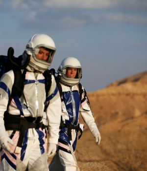 Israeli scientists participate in an experiment simulating a mission to Mars, at the D-MARS Desert Mars Analog Ramon Station project of Israel's Space Agency, Ministry of Science, near Mitzpe Ramon