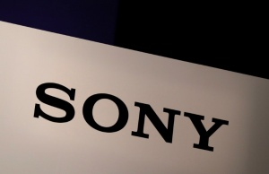 Sony Corp's logo is seen at its news conference in Tokyo