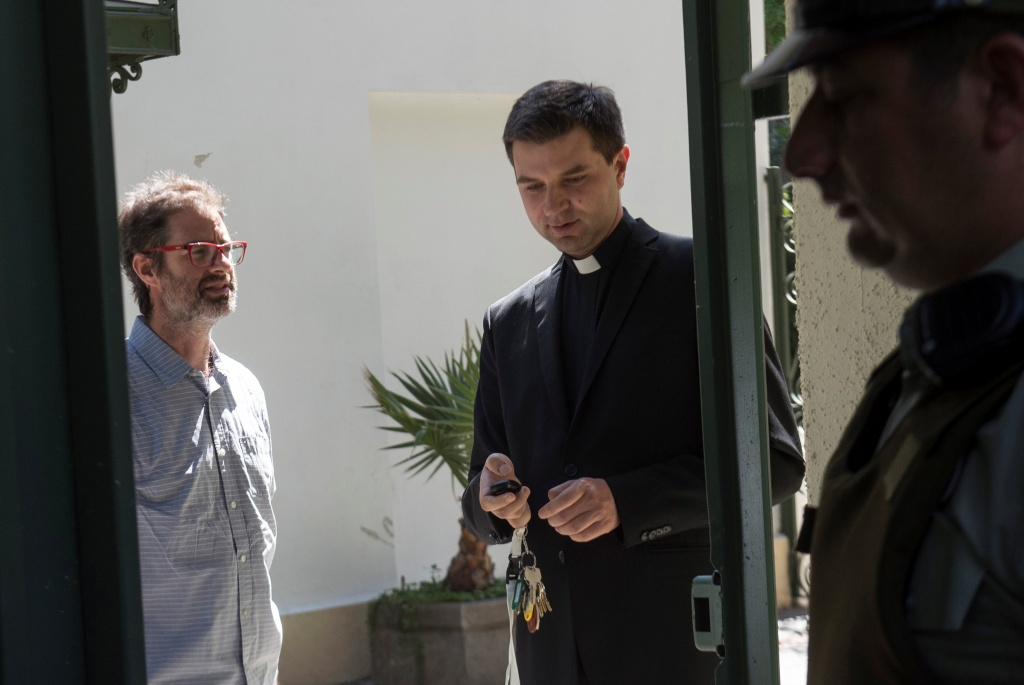 Jose Andres Murillo is seen in the exit of the Chilean apostolic nunciature after a meeting with the Vatican special envoy Archbishop Charles Scicluna in Santiago