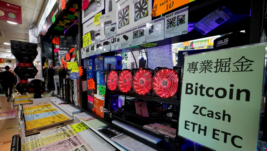A cryptocurrency mining computer is seen on display at a computer mall in Hong Kong