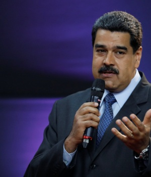 "Venezuela's President Nicolas Maduro gestures as he speaks during the event launching the new Venezuelan cryptocurrency ""petro"" in Caracas"