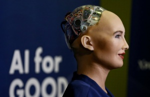 "Sophia, a robot integrating the latest technologies and artificial intelligence is pictured during a presentation at the ""AI for Good"" Global Summit in Geneva"