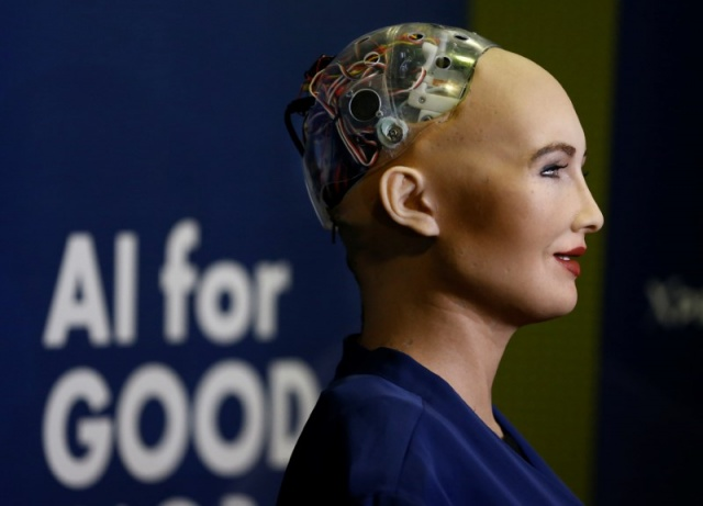Sophia, a robot integrating the latest technologies and artificial intelligence is pictured during a presentation at the