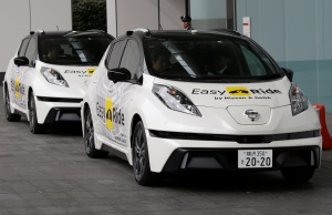 Self-driving vehicles, based on Nissan Leaf EV, for Easy Ride service, developed by Nissan and mobile gaming platform operator DeNA Co, are seen during its media preview in Yokohama