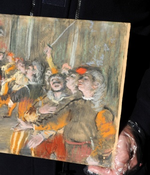 "The 1877 painting ""Les Choristes"" (The Chorus Singers) by Edgar Degas, seen in this picture provided by the French Customs on February 23, 2018, was found during a routine check on a bus at a highway rest area east of Paris"