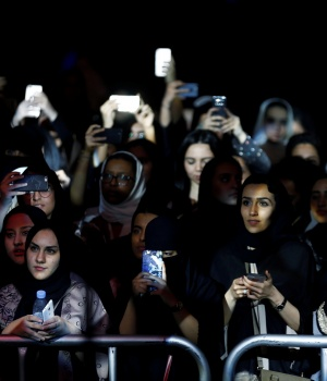 Women attend the jazz festival in Riyadh