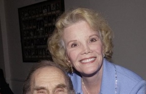 Legendary comedian Sid Caesar poses with actress Nanette Fabray as he celebrates his belated 80th bi..