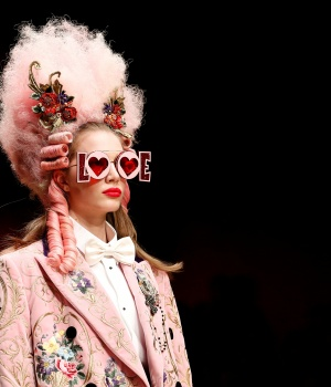 A model presents a creation from the Dolce & Gabbana Autumn/Winter 2018 women's collection during Milan Fashion Week in Milan