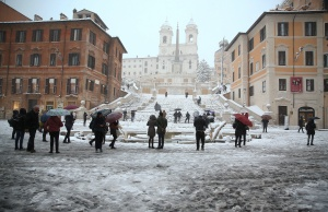 Spanish Steps are seen during a heavy snowfall in Rome