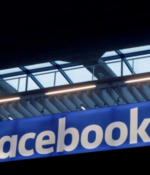 Facebook logo is seen at a start-up companies gathering at Paris' Station F in Paris