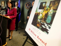 United States Attorney Carmen Ortiz speaks during a press conference at the FBI's Boston Field Office held to appeal to the public for help in returning artwork stolen in 1990 from the Isabella Stewart Gardner Museum in Boston