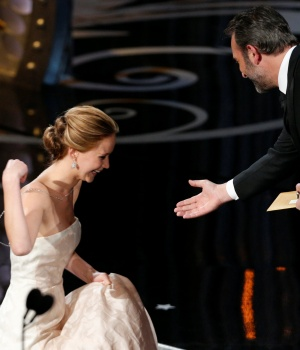 Jennifer Lawrence accepts the award for best actress at the 85th Academy Awards in Hollywood