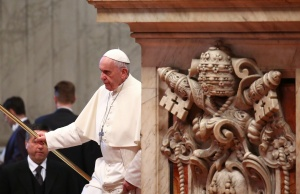 Pope Francis arrives at the general audience in the St. Peter Basilica at the Vatican