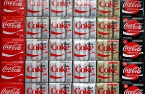 Boxes of Coca-Cola are seen at a grocery store in Los Angeles