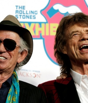 "Keith Richards and Mick Jagger of The Rolling Stones pose as the band arrives for the opening of the new exhibit ""Exhibitionism: The Rolling Stones"" in the Manhattan borough of New York City"