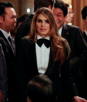 White House Communications Director Hope Hicks attends an official dinner thrown by Japan's Prime Minister Shinzo Abe in honor of U.S. President Donald Trump at Akasaka Palace in Tokyo