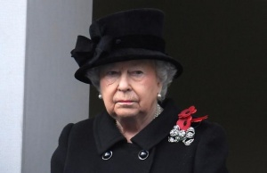 Britain's Queen Elizabeth II stands in silence at the Remembrance Sunday Cenotaph service in London