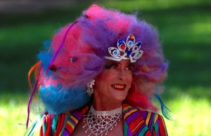 A participant wearing a costume prepares for the 40th anniversary of the Sydney Gay and Lesbian Mardi Gras Parade in central Sydney