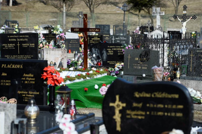 The grave is prepared for the funeral of investigative reporter Jan Kuciak