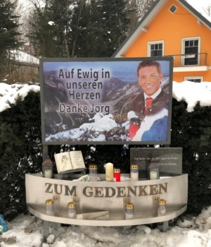 A memorial for late Carinthia governor Joerg Haider is seen in Lambichl