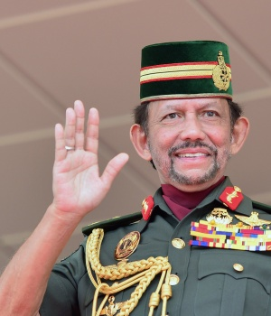 Brunei's Sultan Bolkiah gestures during 34th National Day celebrations in Bandar Seri Begawan