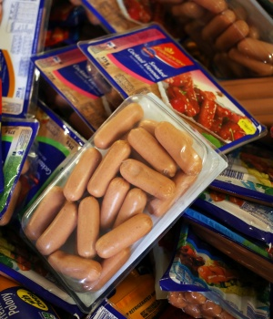 Cold meat products are seen in a trolley after they were removed from the shelves of Pick n Pay Store in Johannesburg
