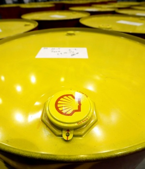 Filled oil drums are seen at Royal Dutch Shell Plc's lubricants blending plant in the town of Torzhok
