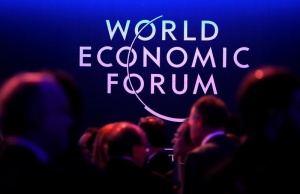 Logo of the World Economic Forum (WEF) is seen as people attend the WEF annual meeting in Davos