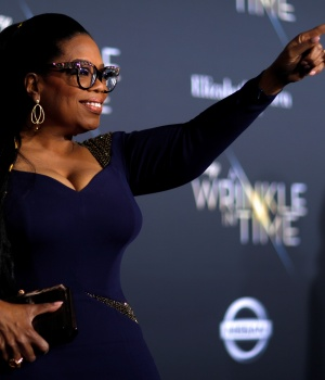 """Cast member Winfrey poses at the premiere of """"A Wrinkle in Time"""" in Los Angeles"""