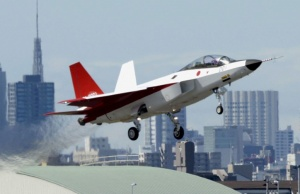 Prototype of the first Japan-made stealth fighter X-2 Shinshin takes off to mark its maiden flight in Toyoyama town