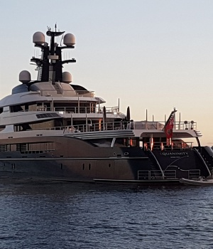 A seized a luxury yacht sought by the U.S. Department of Justice (DOJ) as part of a multi-billion dollar corruption investigation is seen off the shore of Banoa, on the resort island of Bali