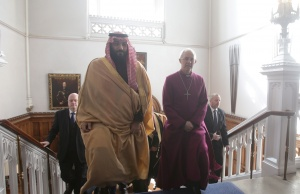 Britain's Archbishop of Canterbury Justin Welby accompanies The Crown Prince of Saudi Arabia Mohammed bin Salman for a private meeting at Lambeth Palace, London