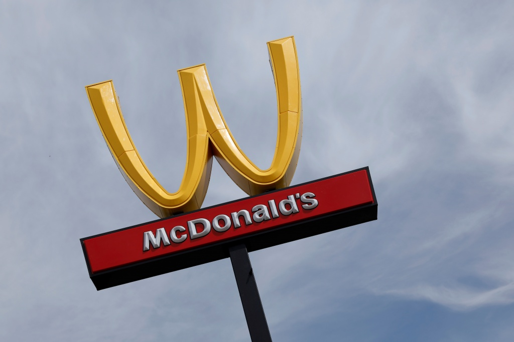 McDonald's iconic 'M' logo is turned upside down in honour of International Women's Day in Lynwood