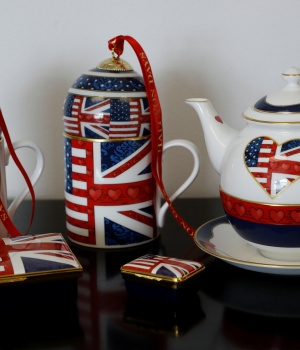 China made to celebrate the Royal Wedding between Prince Harry and Meghan Markle is displayed at Halcyon Days' Caverswall factory in Stoke-on-Trent