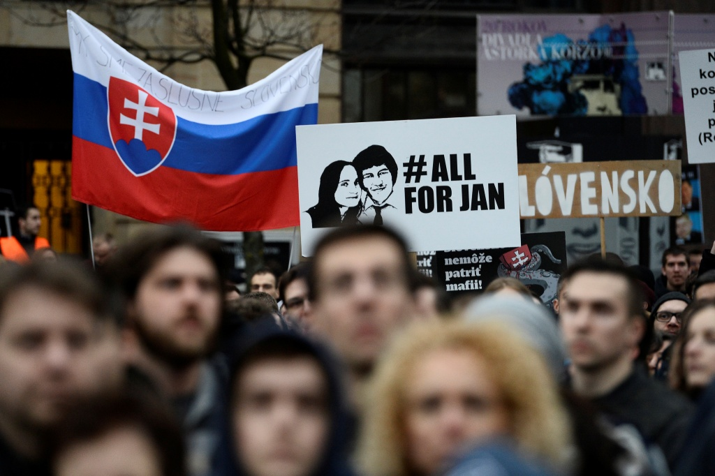 "Demonstrators attend a protest called ""Let's stand for decency in Slovakia"" in Bratislava"