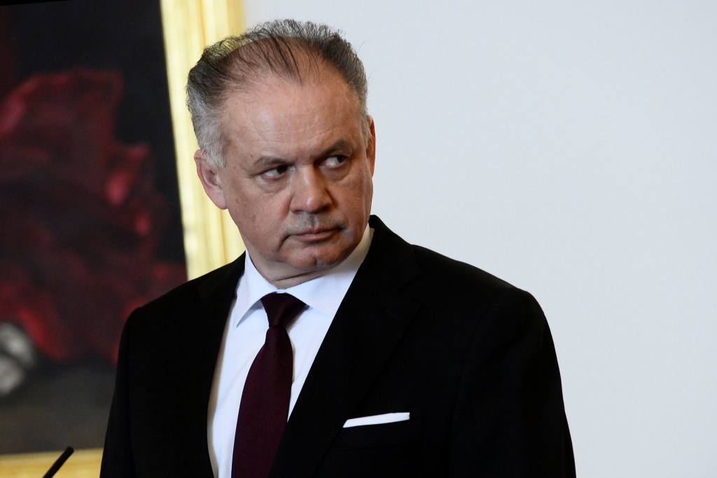 Slovakia's President Andrej Kiska reacts after a meeting of Slovakia's three top officials at the Bratislava castle
