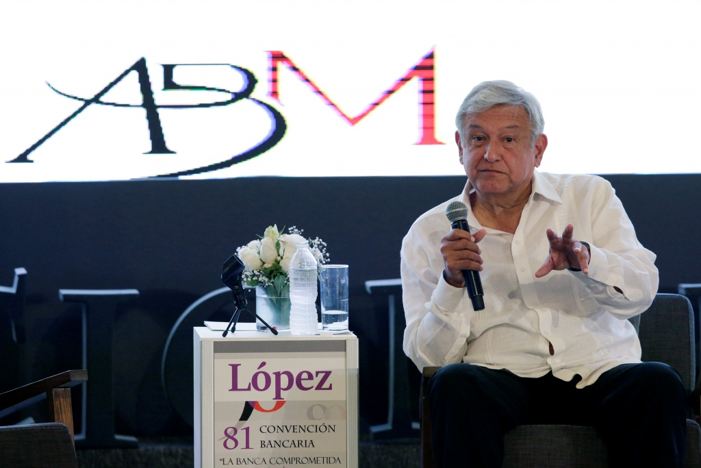 Leftist front-runner Lopez Obrador, presidential candidate for of the National Regeneration Movement, gestures during the Mexican Banking Association's annual convention in Acapulco