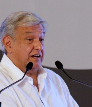 Leftist front-runner Andres Manuel Lopez Obrador, presidential candidate of the National Regeneration Movement (MORENA), addresses the audience during the Mexican Banking Association's annual convention in Acapulco