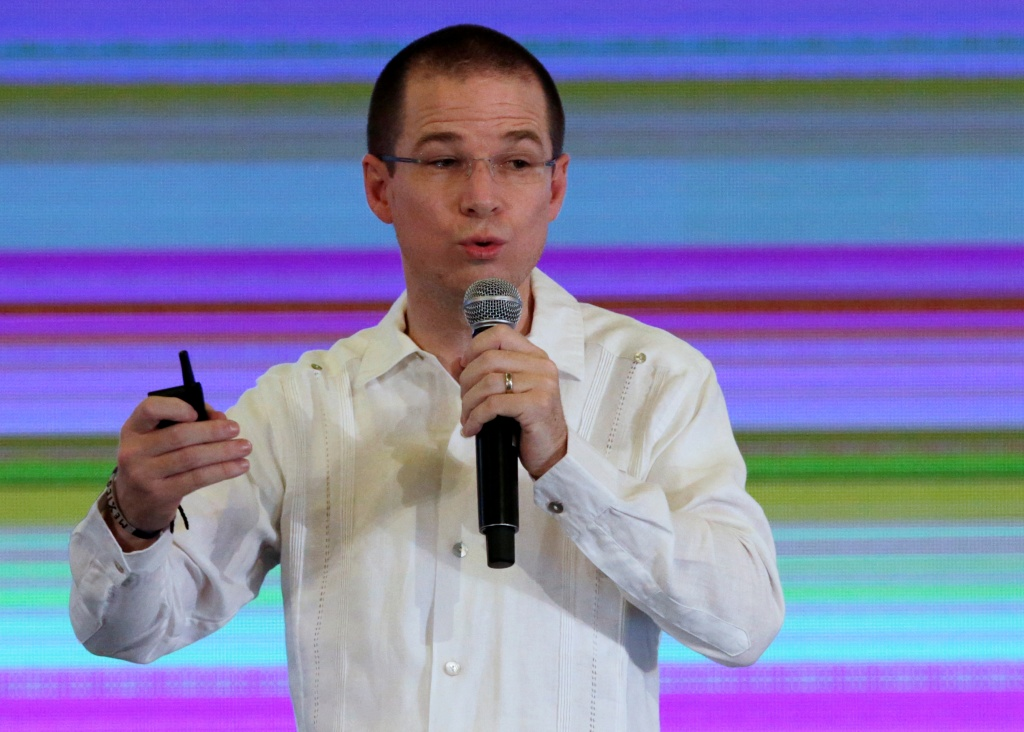 "Ricardo Anaya, presidential candidate for the National Action Party (PAN), leading the left-right coalition ""For Mexico in Front"", addresses the audience during the Mexican Banking Association's annual convention in Acapulco"