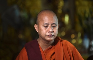 Buddhist monk Wirathu, who was banned by the Myanmar government from giving sermons for one year, arrives at a monastery to give a speech after the ban expired on March 9, in Yangon