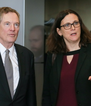 U.S. Trade Representative Lighthizer and EU Trade Commissioner Malmstrom take part in a meeting to discuss steel overcapacity in Brussels
