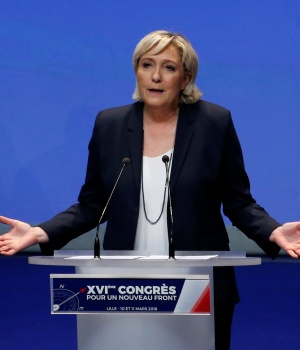 Marine Le Pen, National Front (FN) political party leader, announces the new staff, during National Front's congress in Lille