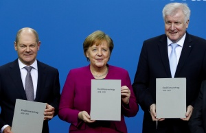 CDU, CSU and SPD present signed coalition deal during a ceremony in Berlin