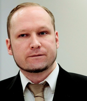 Norwegian mass killer Breivik attends the second day of his murder trial in Oslo