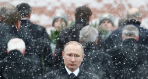 Russian President Putin attends wreath laying ceremony to mark Defender of Fatherland Day at Tomb of Unknown Soldier by Kremlin wall in Moscow